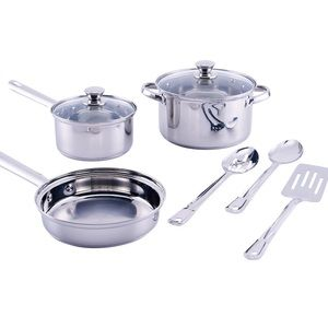 10-Piece Mirrored Polished Cookware Set